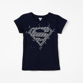 KIDSVILLE Superman Print Round Neck T-shirt
