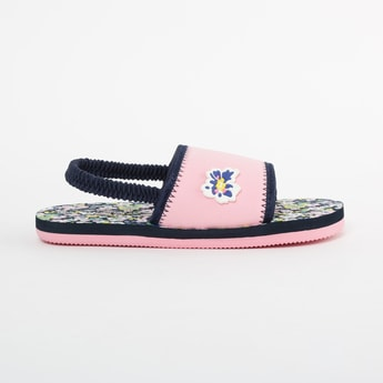 FAME FOREVER Floral Print Slingback Slippers with Applique