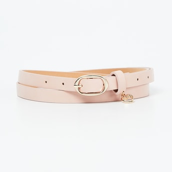 GINGER Solid Slim Belt with Heart Accent