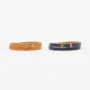 GINGER Solid Casual Belt - Set of 2 Pcs.
