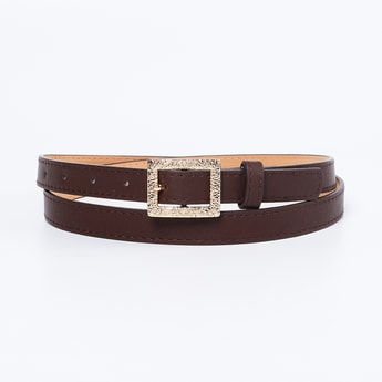 GINGER Solid Casual Belt with Textured Buckle