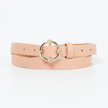 GINGER Solid Belt with Floral Accent