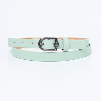 GINGER Solid Slim Belt with Buckle Closure