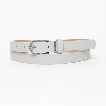 GINGER Solid Slim Belt with Embossed Buckle Closure