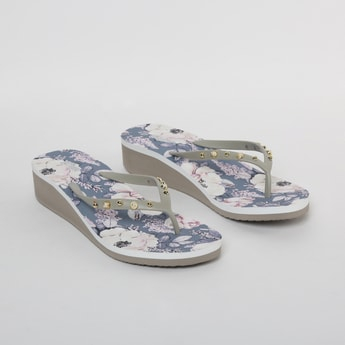 GINGER Floral Print Beaded Heeled Slippers