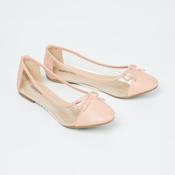 TRUFFLE COLLECTION Panelled Ballerinas with Bow Applique