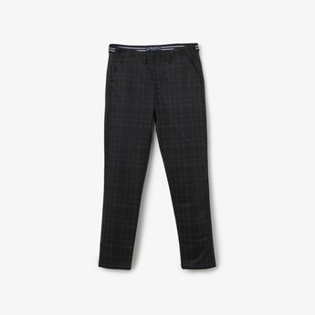 ALLEN SOLLY Checked Flat-Front Trousers