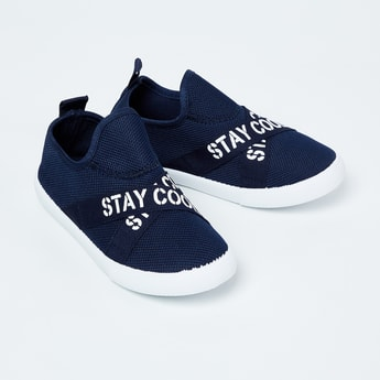 FAME FOREVER Mesh Slip-On Shoes with Printed Tabs