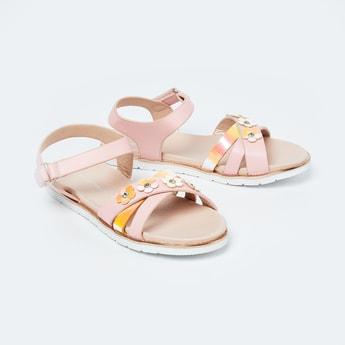 FAME FOREVER Floral Applique Slingback Flat Sandals