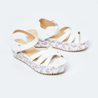 FAME FOREVER Floral Print Platform Sandals