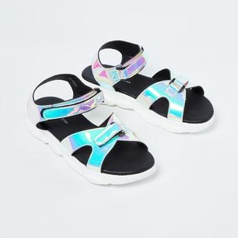 FAME FOREVER Chrome-Finish Velcro Strap Sandals