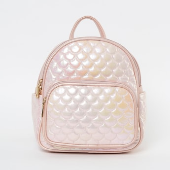 GINGER Textured Backpack with Zip Pocket