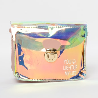 GINGER Typographic Print Sling Bag with Transparent Panel