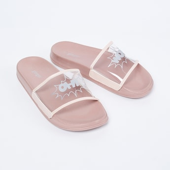 GINGER Textured Sliders with Transparent Strap