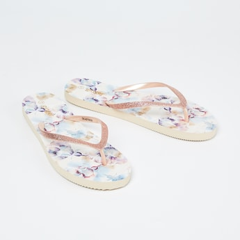 GINGER Printed Shimmery Strap Slippers