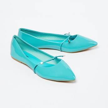 GINGER Solid Ballerina Flats with Tie-Up Detail