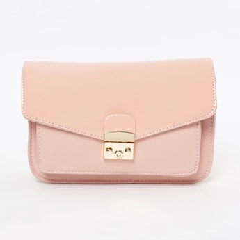 GINGER Solid Sling Bag with Flap Closure