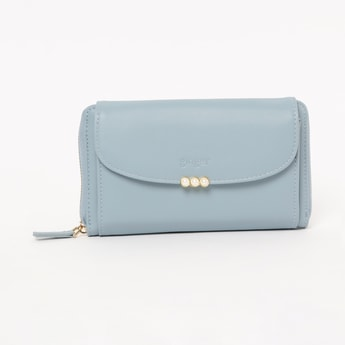 GINGER Solid Zip-Around Wallet with Detachable Sling