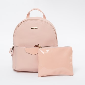 GINGER Textured Backpack with Pouch