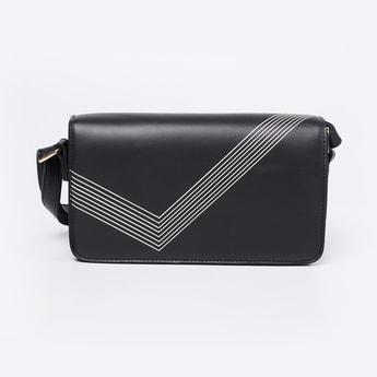 CODE Printed Flap-Closure Box Sling Bag