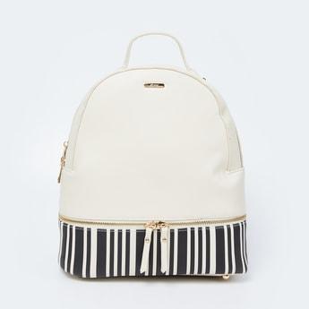 GINGER Striped Zip-Closure Backpack