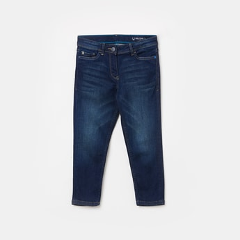 ALLEN SOLLY Girls Stonewashed Slim Fit Jeans