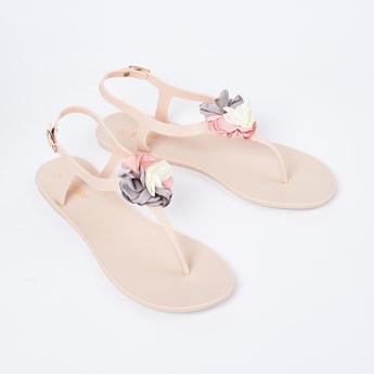 GINGER Slingback Flat Sandals with Floral Applique