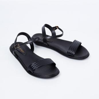 GINGER Textured Slingback Flat Sandals