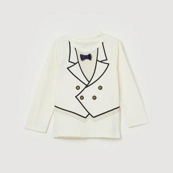 FS MINI KLUB Printed Bow Accent Full Sleeves T-shirt