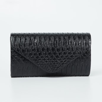 CODE Reptilian Textured Clutch with Chain Strap