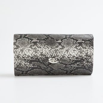 CODE Textured Flap-Closure Clutch with Chain Shoulder Strap