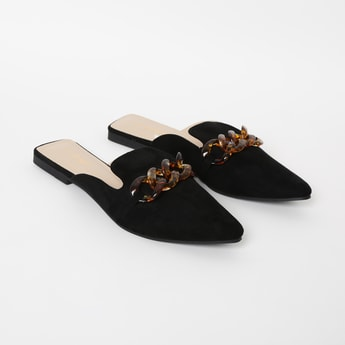 GINGER Pointed-Toe Mules with Applique