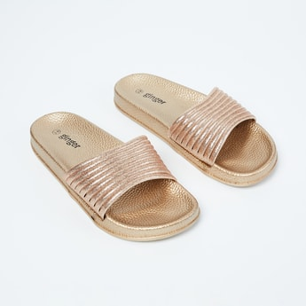 GINGER Textured Sliders with Shimmery Midfoot Strap