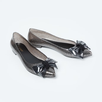GINGER Shimmery Ballerinas with Bow