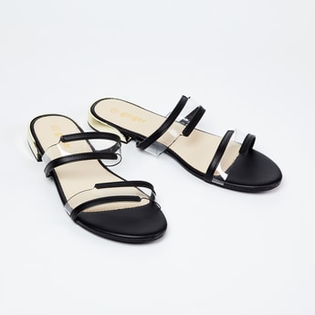 GINGER Flat Sandals with Transparent Straps