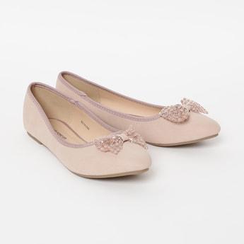 FAME FOREVER Bow Embellished Ballerina Flats