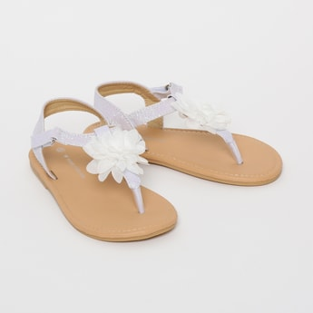 FAME FOREVER Textured Flat Sandals with Floral Applique