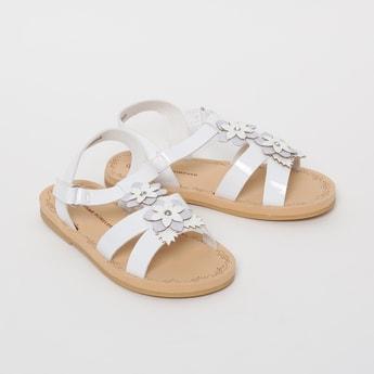 FAME FOREVER Slingback Flat Sandals with Floral Applique