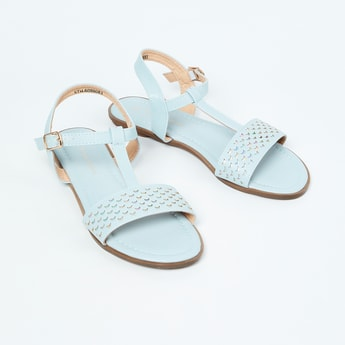 FAME FOREVER Scallop Textured Ankle Strap Flats