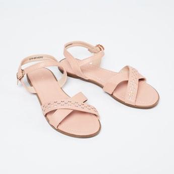 FAME FOREVER Textured Cross-Strap Sandals