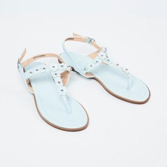 FAME FOREVER Floral Embellished T-strap Sandals