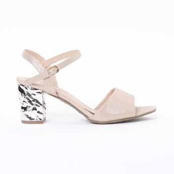 RAW HIDE Ankle-Strap Block Heels