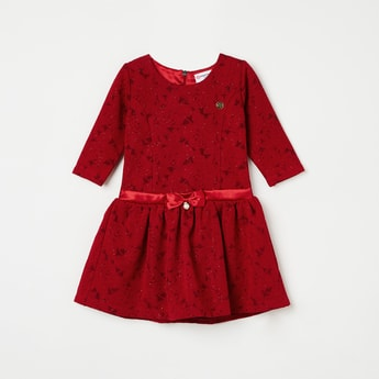 PEPPERMINT Textured Fit & Flare Dress with Bow