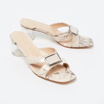 CODE Textured Sandals with Circular Block Heels