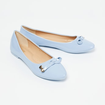 CODE Solid Bow-Detailed Ballerina Flats