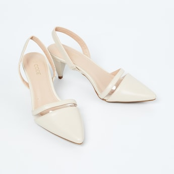 CODE Solid Slingback Cone Heel Shoes