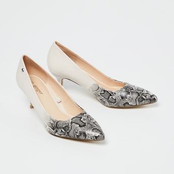 GINGER Reptilian Pattern Pointed-Toe Pumps with Kitten Heels