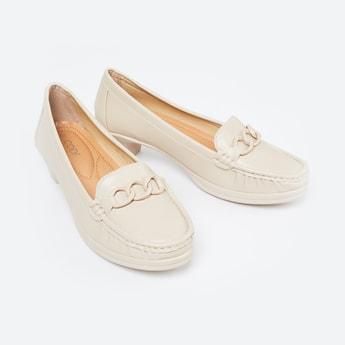 CODE Embellished Block Heel Loafers