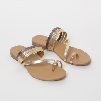 CODE Shimmery Toe-Ring Flat Sandals