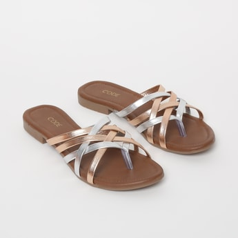 CODE Flat Sandals with Shimmery Straps
